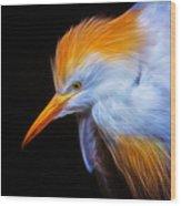 Cattle Egret Electrified Wood Print