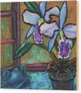Cattleya Orchid And Frog By The Window Wood Print