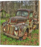 Caught Behind 1947 Ford Stakebed Pickup Truck Art Wood Print