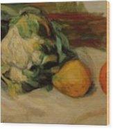 Cauliflower And Pomegranates Wood Print