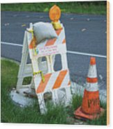 Caution, Road Work Wood Print