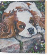 Cavalier King Charles Spaniel In The Pansies  Wood Print by Lee Ann Shepard