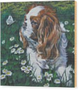 Cavalier King Charles Spaniel With Butterfly Wood Print by Lee Ann Shepard