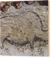 Cave Art: Rhinoceros Wood Print