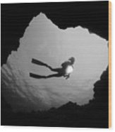 Cave Diver - Bw Wood Print by Dave Fleetham - Printscapes