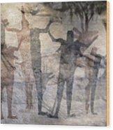 Cave Painting Of Prehistoric Man Wood Print