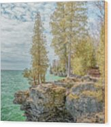 Cave Point Bluffs 2 Wood Print