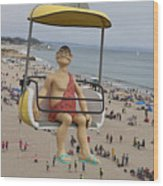 Caveman Above Beach Santa Cruz Boardwalk Wood Print
