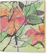 Cayenas Atrapadas  Hibiscus Wood Print