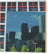 Cbc Building Tv Screen Of Downtown Highrises Wood Print