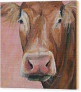 Cecilia The Cow Wood Print