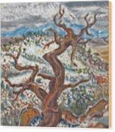 Cedar And Singing Bird Wood Print