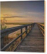 Cedar Beach Pier, Long Island New York Wood Print