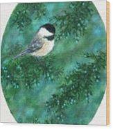 Cedar Chickadees - Bird 1 Wood Print