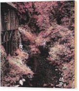 Cedar Creek Grist Mill Soft Burgundy Wood Print