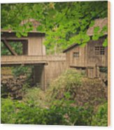 Cedar Creek Mill And Covered Bridge Wood Print