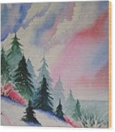 Cedar Fork Snow Wood Print
