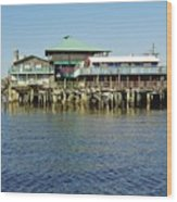 Cedar Key Waterfront Wood Print