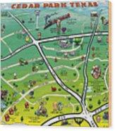 Cedar Park Texas Cartoon Map Wood Print