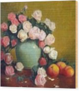 Celadon Vase With Roses And Nectarines Wood Print