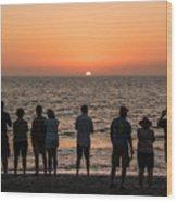 Celebrating The Sunset Wood Print