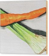 Celery And Carrot Together Wood Print