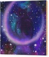Celestial Crescent Moon Cat  Wood Print