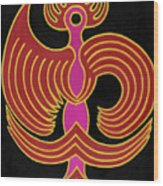 Celestial Red Phoenix Wood Print