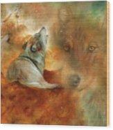 Celestial Wolves 2 Wood Print