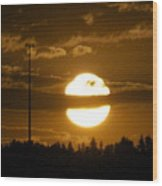 Cell Tower Moon Wood Print