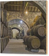 Cellar With Wine Barrels Wood Print