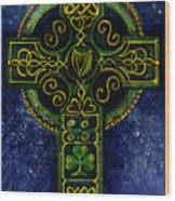 Celtic Cross - Harp Wood Print
