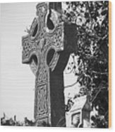 Celtic Cross At Fuerty Cemetery Roscommon Ireland Wood Print