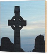 Celtic Cross At Sunset Donegal Ireland Wood Print