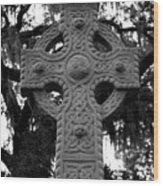 Celtic Cross In Emmet Park Wood Print