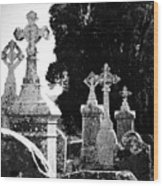 Celtic Crosses At Fuerty Cemetery Roscommon Ireland Wood Print