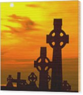 Celtic Crosses In Graveyard Wood Print