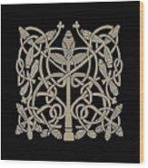 Celtic Leaves Knots One Wood Print