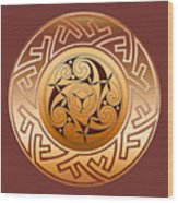 Celtic Spiral And Key Pattern Wood Print