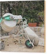Cement Mixer And A Wheelbarrow In Croatia Wood Print