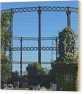 Cemetery And Gas Works Wood Print