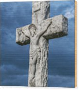 Cemetery Statue Of Jesus Wood Print