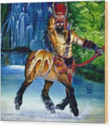 Centaur In Waterfall Wood Print