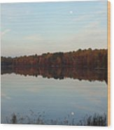 Centennial Lake Autumn - Reflective Moon Over The Lake Wood Print