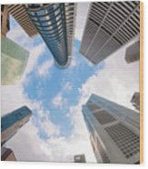 Central Business District In Singapore Wood Print