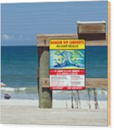 Central Florida Beach Warning Wood Print