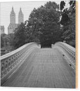 Central Park Bow Bridge With The San Remo Wood Print by Christopher Kirby
