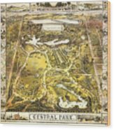 Central Park Map, Manhattan New York, 1863 Wood Print