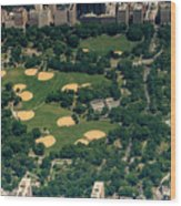 Central Park North Meadow In New York City Aerial View Wood Print