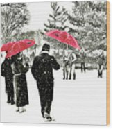 Central Park Snow And Red Umbrellas Wood Print